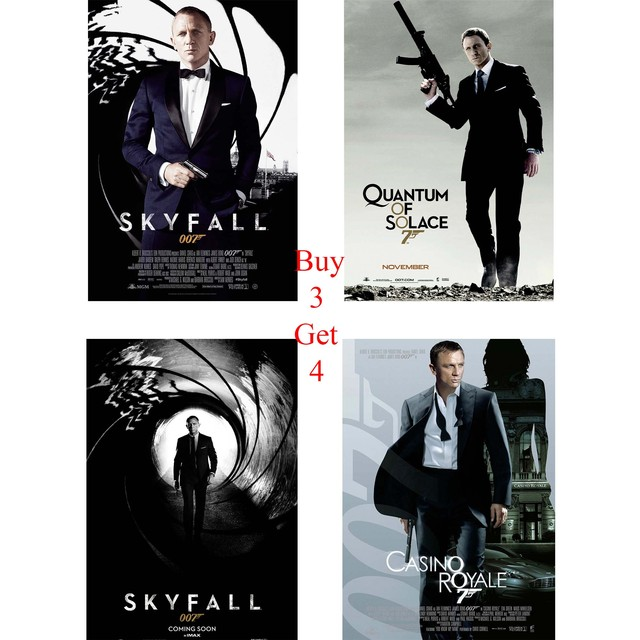 skyfall posters casino royale quantum of solace white coated paper