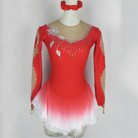 Customized Figure Skating Dress Costume Ice Skating Skirt Gymnastics Red Color Adult Girl Show Performance Competition Clothing