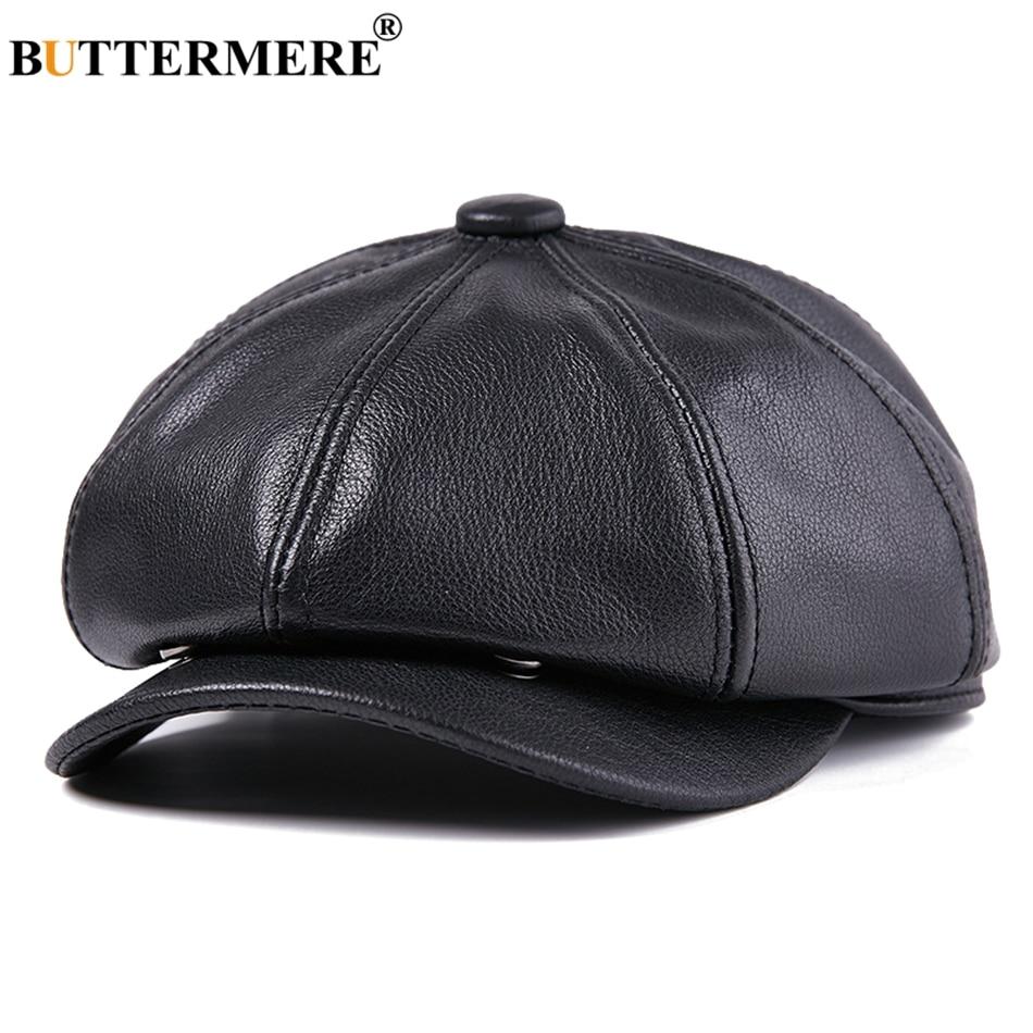 BUTTERMERE En Cuir Gavroche Casquettes Hommes cuir véritable noir Journal Cap Gatsby Mâle Vintage D'hiver Octogonale Chapeaux qualité supérieure