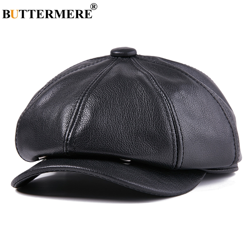 Buttermere Leather Newsboy Caps Men Black Genuine Leather Newspaper Cap Gatsby Male Vintage Winter Octagonal Hats High Quality