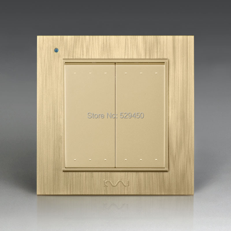 Free Shipping, Kempinski Luxury Wall Switch, 2 Gang 1 Way, Light Switch, AC 110~250V, X8 series kempinski wall switch 3 gang 1 way light switch champagne gold color special texture c31 sereis 110 250v popular