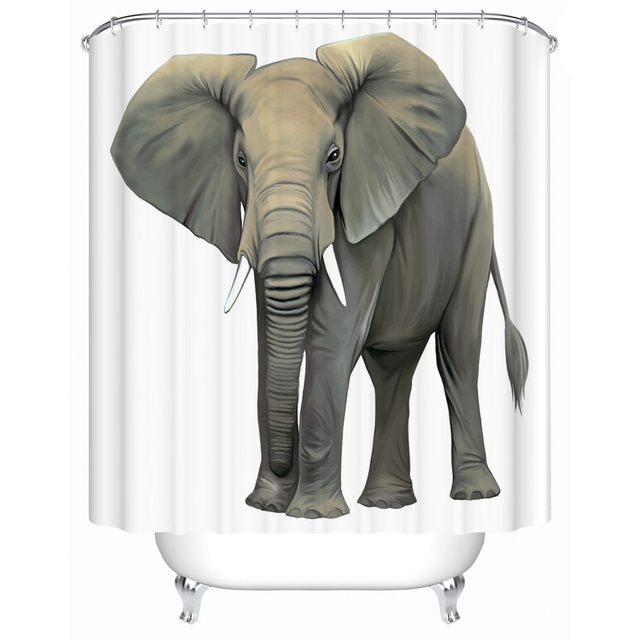 WARM TOUR Classic 3d Pattern Animal Polyester Fabric Printing Shower Curtain Elephant Deer Lion Bathroom For Wet Room