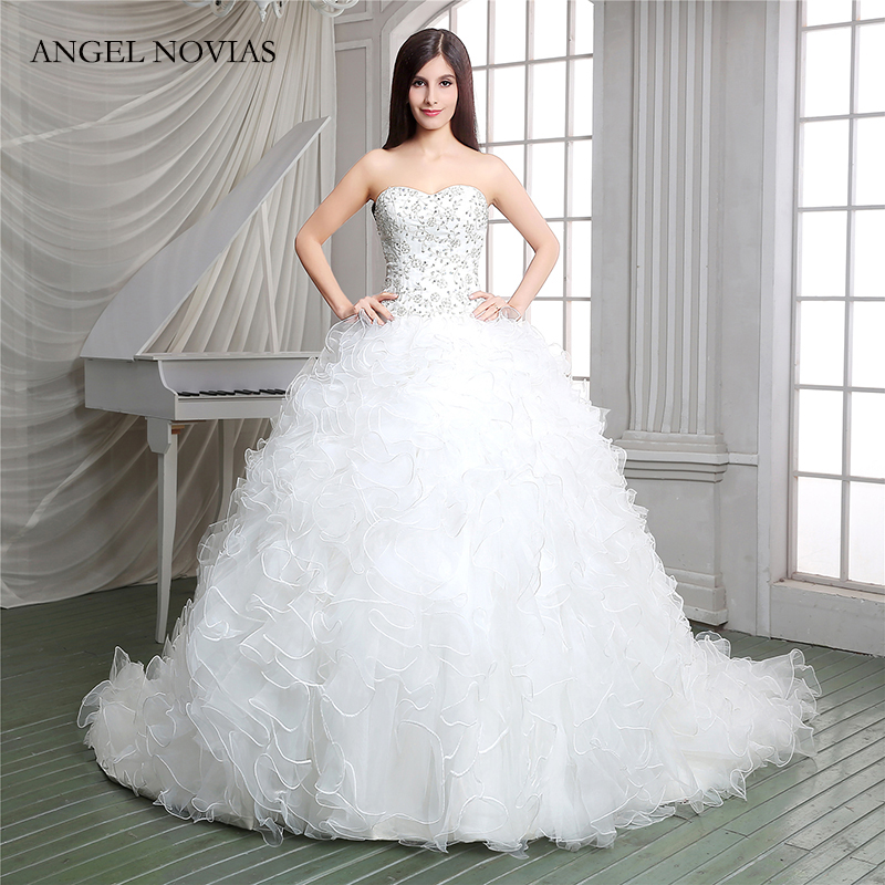 Angel Novias Long Vintage Ball Gown Plus Size Ruffled Wedding Dresses 2018 Bridal Gowns Vestidos De Noiva De Luxo 2017