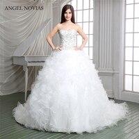 Angel Novias Long Vintage Ball Gown Plus Size Ruffled Wedding Dresses 2018 Bridal Gowns Vestidos De Noiva De Luxo 2017