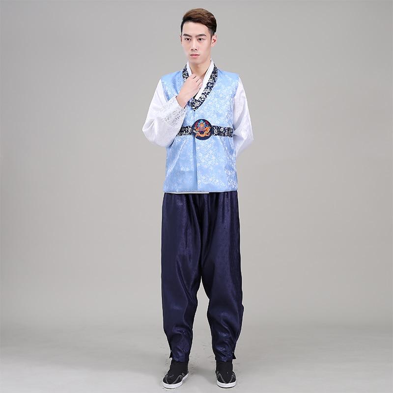 2016 New Men Hanbok Costume Top+pant+vest 3 Pcs Korean Hanbok Male Korean Traditional Clothing Stage Dance Performance Costume 8