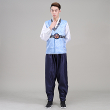 2016 New Men Hanbok Costume Top+pant+vest 3 Pcs Korean Male Traditional Clothing Stage Dance Performance 8
