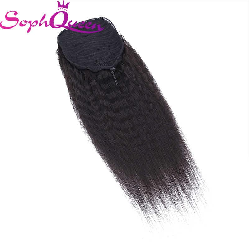 Pelo humano brasileño cordón Cola de Caballo rizado Clip recto en extensiones de cabello Color Natural no Remy cola de caballo