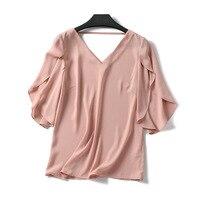 Summer Korean Thin Pink Chiffon Blouse Female Short Sleeve Loose V neck Ladies Tops Fashion Sexy Backless Girls Casual Shirts