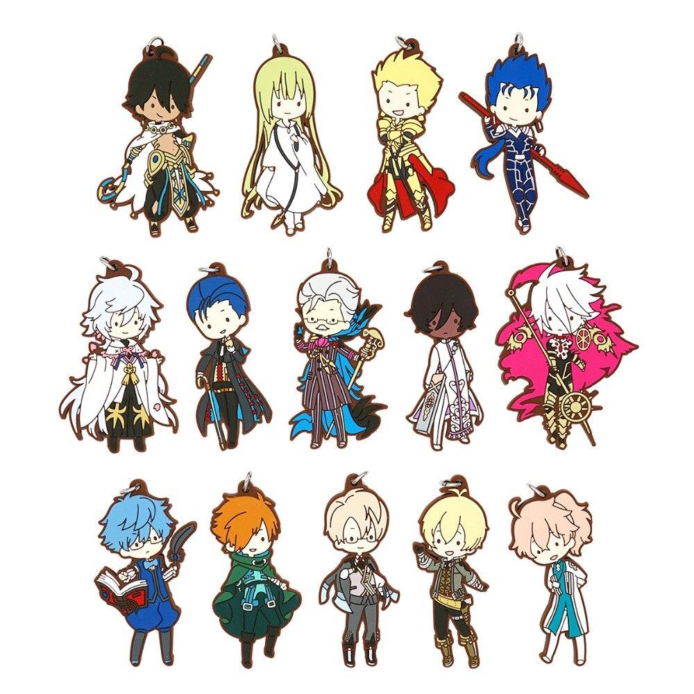 Fate/Grand Order FGO Anime Strap Enkidu Merlin Arjuna Romain Cu Chulainn Karna Robin Hood Arjuna Gilgamesh Rubber Keychain
