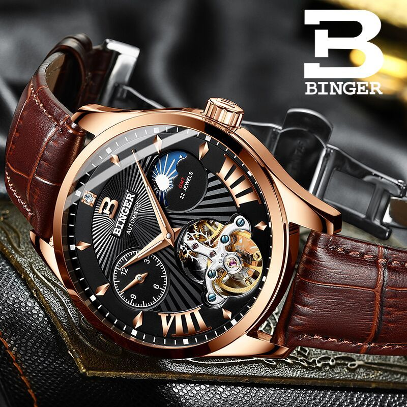 Reloj suizo hombre Binger automático mecánico hombres relojes marca de lujo zafiro GMT hombres reloj de pulsera impermeable B 1186 10-in Relojes mecánicos from Relojes de pulsera    1
