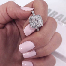 Classic Cubic Zircon inlay wedding Rings for Woman Elegant Bridal Party Finger Jewelry girl Gift Dropshipping