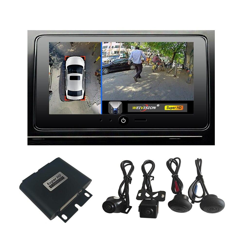 Weivision 1080 P HD 360 degrés vue oiseau système Surround vue panoramique, système de caméra tout rond avec DVR Quad-core CPU