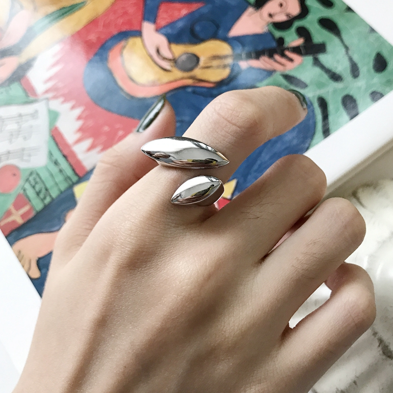 LouLeur 925 Sterling Silver Combined Geometric Surface Rings Silver Glossy Creative Elegant Open Rings For Women Fine Jewelry
