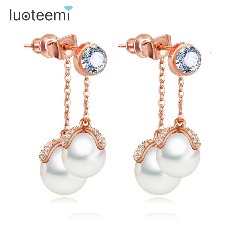 LUOTEEMI Rose Gold Elegant Elegant Zirkon Micro Paved Double Imitation Pearl Tassel Dangle Earrings Female Perfect Jewelry