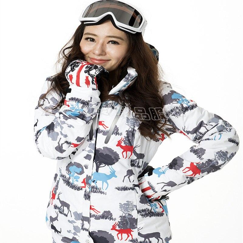 Prix pour IMPRESSION D'HIVER Marque Femmes de Ski Veste Femme Snowboard Veste Imperméable Respirant Hiver Thermique Manteau Chaud Veste de Neige