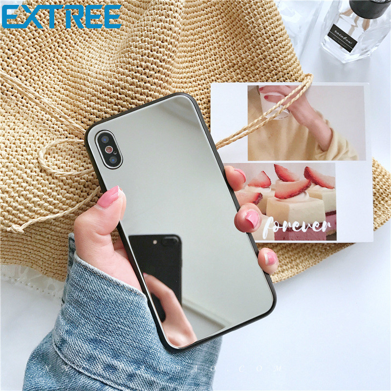 EXTREE Case for Glass Mirror Silver Apple X Mobile Phone Case Iphone7plus/6s Full Soft Case 8x Protection Case Female