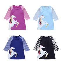 Girls Dress Unicorn Dress Applique Long Sleeve Princess Dress Children Costume Robe Fille Kids Party Dresses Baby Girl Clothes