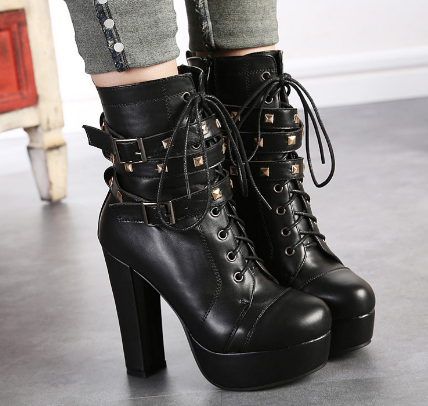 ФОТО shoes woman Platform Shoes Fall Winter Womens Motorcycle Boots Ankle Boots Fashion Rivets Belt Buckle Boots High Heels