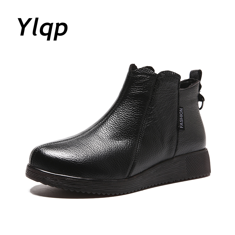 купить 2018 Winter Shoes Genuine Leather Booties Woman Ankle Boots for Women Snow Fur Boots Ladies Flat Shoes Black Zapatos De Mujer по цене 1835.93 рублей