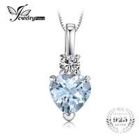 JewelryPalace Serce Miłość 0.8ct Biały Topazs Wisiorek 925 Sterling Silver Naszyjnik Moda Biżuteria