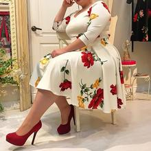Plus Size Dress 5XL Women Floral Printed 1/2 Half Sleeve V neck Sexy White midi Dress robe femme office Lady vestidos(China)