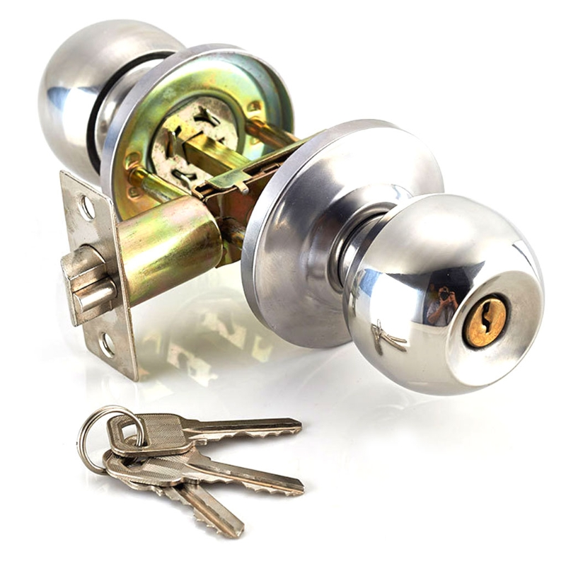 цена на New Stainless Steel Round Ball Door Knobs Handle Passage Entrance Lock Entry with 3 Keys hot