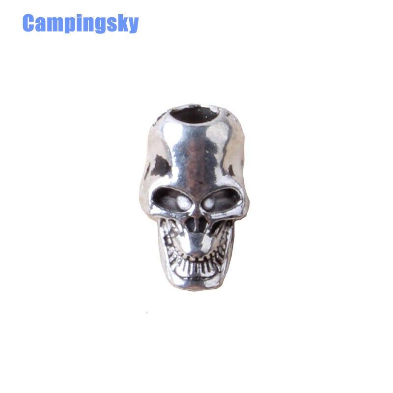 CAMPINGSKY Encantos de Prata Contas Do Crânio, Crânio Paracord Faca Lanterna Pulseira Acessórios