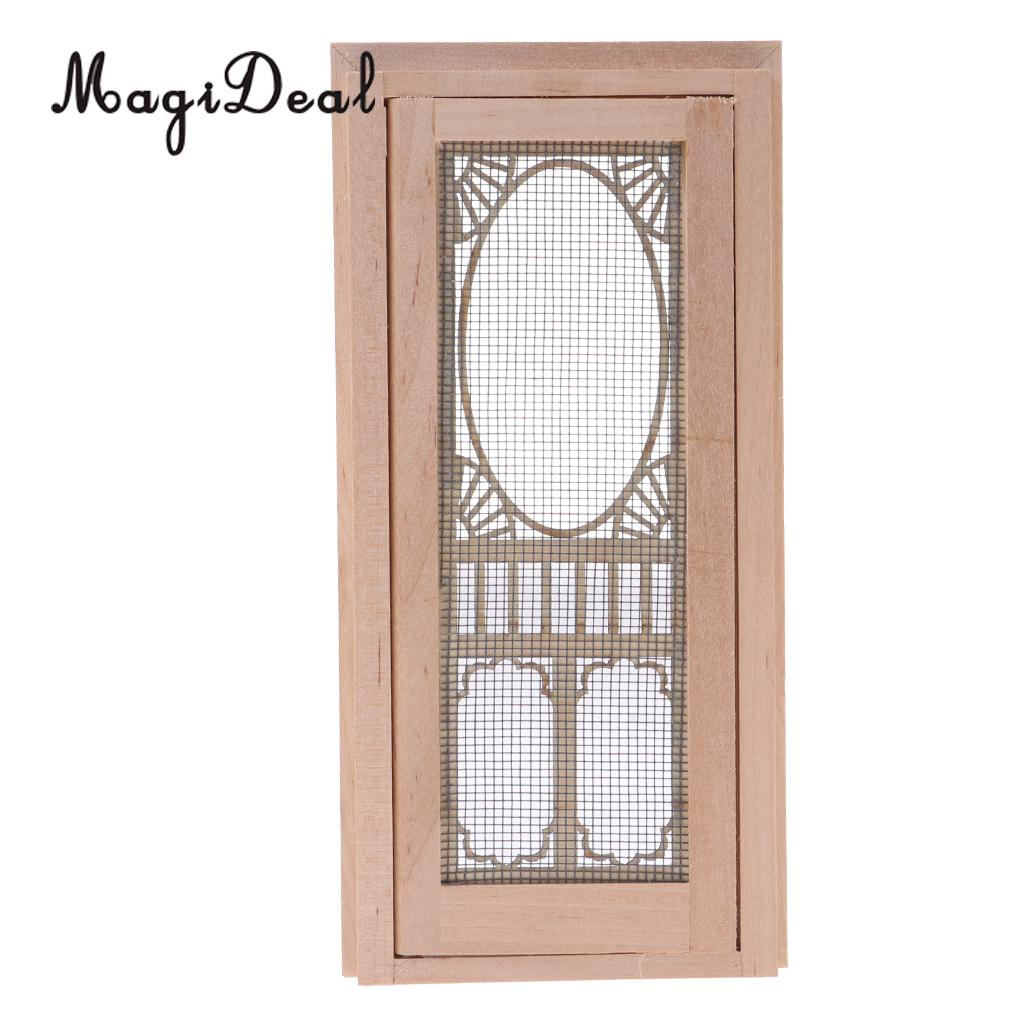 MagiDeal 1/12 Scale Dollhouse Miniature Wood External Hollow Screen Door Unpainted Furniture For Dolls House Furniture Accessory