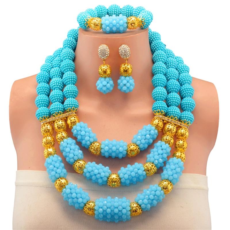 Lake Blue Gold African Beads Imitation Pearls Jewelry Set Sale Three Layered Balls Beads Nigerian Costume Wedding JewelryLake Blue Gold African Beads Imitation Pearls Jewelry Set Sale Three Layered Balls Beads Nigerian Costume Wedding Jewelry