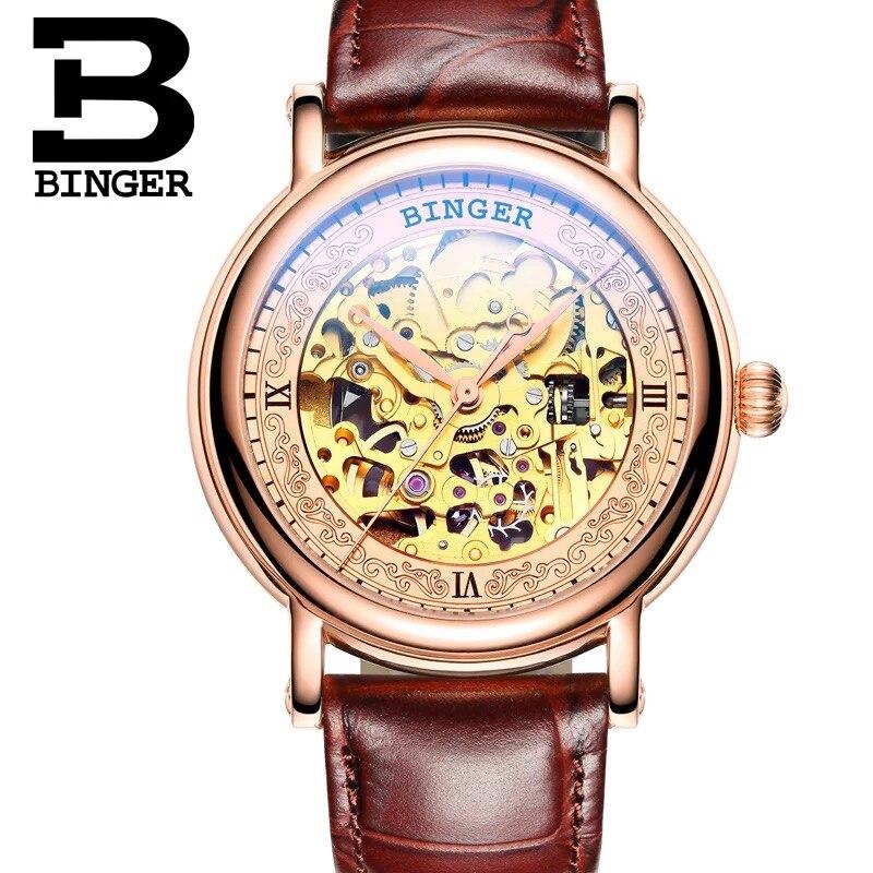 Натуральная Швейцария Binger бренд Для мужчин self-ветер Автоматические Механические Сап ...