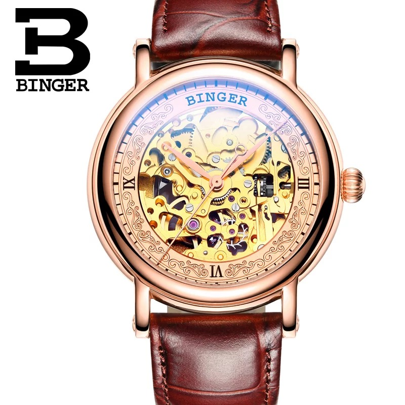 Genuine Switzerland BINGER Brand Men self-wind automatic mechanical sapphire leather strap watch 18K Electrolytic Gold hollow 3d hand relief design binger men automatic self wind famous brand fashion luxury watch leather strap mechanical wristwatches