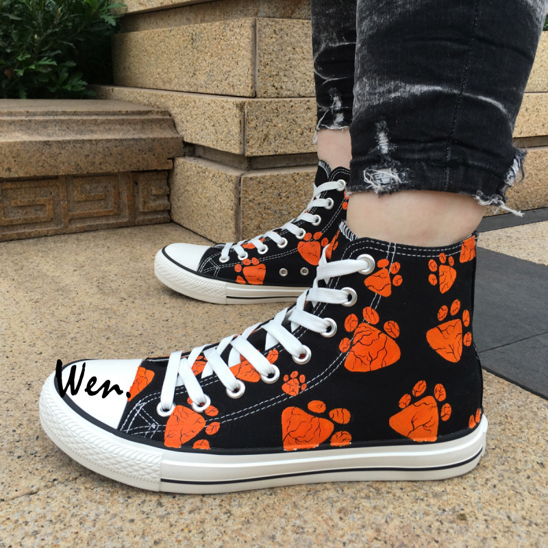 Wen Design Custom Hand Painted Shoes Dog Paws Print High Top Black Canvas Sneakers Birthday Gifts for Men Women wen unisex hand painted shoes design custom anime dragon ball high top men women s canvas sneakers for birthday gifts