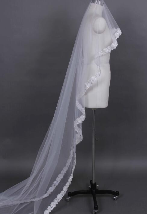 High-end cathedral 1 layer lace bridal veil white ivory wedding veil
