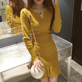 2016 winter dress women's high quality sleeve abstract printed knee length jersey silk stretch dress