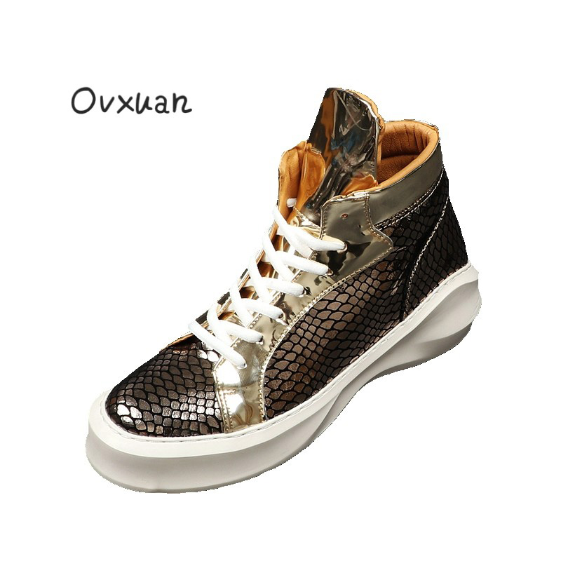 Ovxuan Snake Leather Glitter Street Male Sneakers Fashion Party High Loafers Dress Shoes Men Casual Sneakers Flats Footwear 2018 valstone 2018 men leather casual shoes hip hop gold fashion sneakers silver microfiber high tops male vulcanized shoes sizes 46