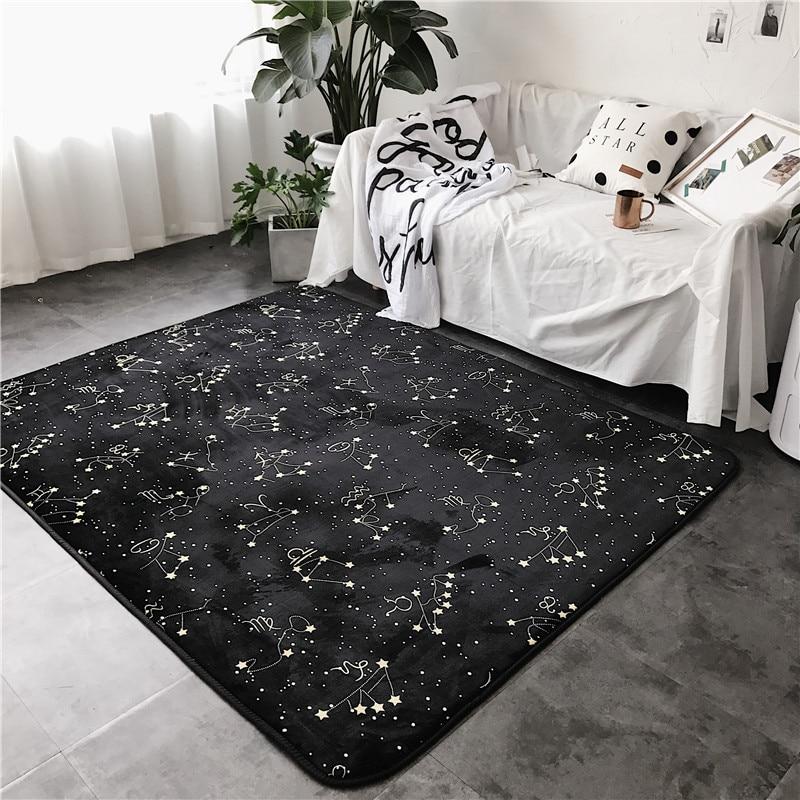 Mode Constellation noir doux salon salon chambre salle de bain tapis porte pied Yoga jouer Camp Pad décoratif tapis zone tapis