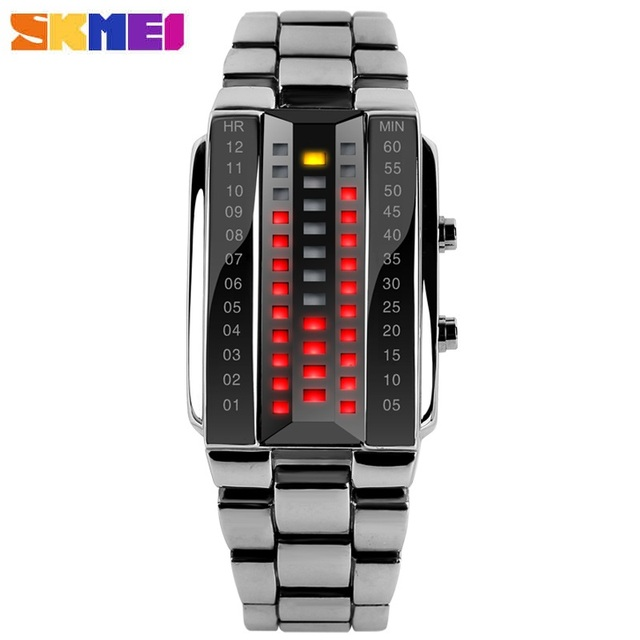 Luxury Lovers Wristwatch Waterproof Men Women Stainless Steel Red Binary Luminous LED Electronic Display Sport Watches Fashion