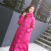 Long Chinese National Style Down Cotton Coat Retro Cloak Type Cotton Jacket Coat Autumn and Winter Thickened Knee Loose Clothing