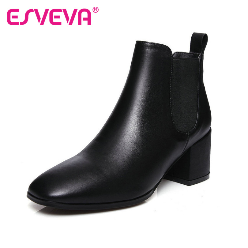 ФОТО ESVEVA Concise Square Toe Slip on Black Fashion Women Shoes Real Leather OL Shoes Women Square High Heel Ankle Boots Size 34-41