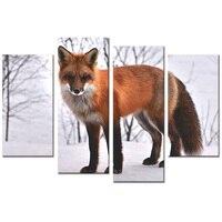 Moderna Animali Parete Della Tela di canapa di Arte Red Fox in Snowy Foresta Foto immagine Stampata su Tela Fantasia Luna DeerHome Decorazione Della Parete No Cornice