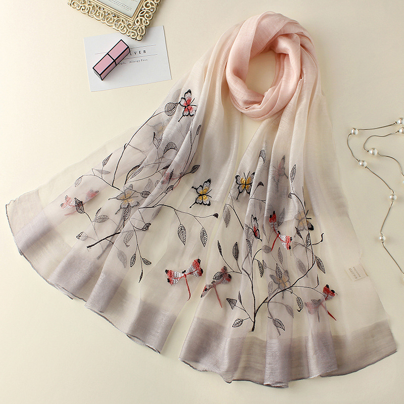 Hot Real Silk Wool Scarf Shawl Female Embroidery Elegant Women Scarves 2019 Spring New Lady Bandana Fashion Trend 9080 in Women 39 s Scarves from Apparel Accessories