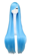 QQXCAIW Long Straihgt Cosplay Party Sky Light Blue 40'' 100 Cm Synthetic Hair Wigs