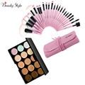 15 Colores de Concealer Crema Facial Maquillaje Cosmético Contour Maquillaje Kits + 24 unids Maquiagem Pinceles de Maquillaje Profesional Conjuntos