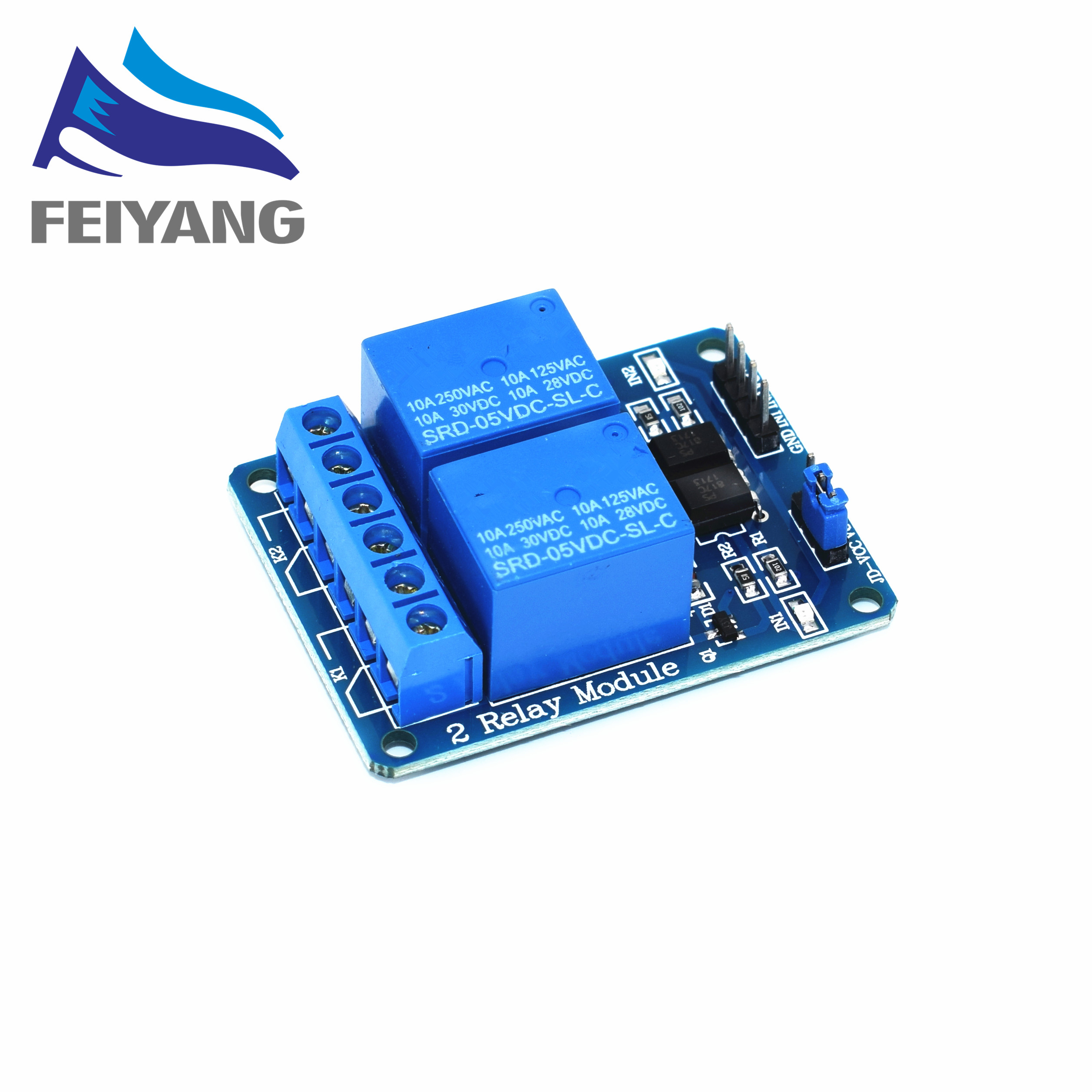 50PCS SAMIORE ROBOT New 5V 2 Channel Relay Module Shield ARM PIC AVR DSP Electronic 10A