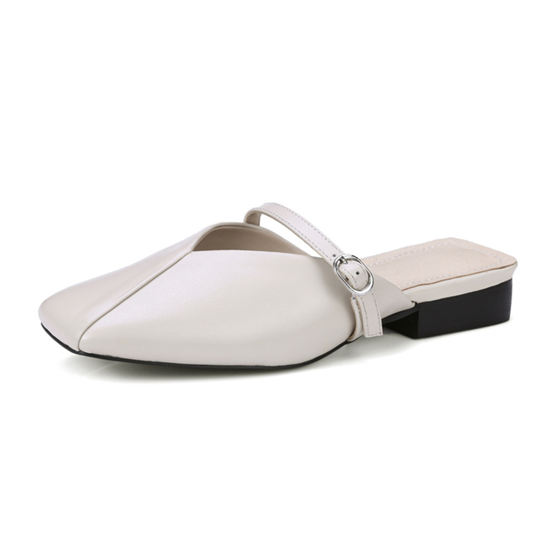 Genuine leather shoes woman sandals Slippers female 2018 pumps casual square head thick half bag head fashion belt buckle цена 2017