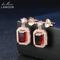 Lamoon Classico 1.1ct 100% Naturale Rosso Granato Dell'argento Sterlina 925 Orecchini di Goccia 18 K Oro Rosa Placcato S925 Fine Jewelry LMEI025