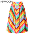 OOPS 2016 Women Skirts New Autumn Vintage Boho Color Blocks Rainbow Striped Print Ball Gown Pleated Flared Midi Skirt A1602012