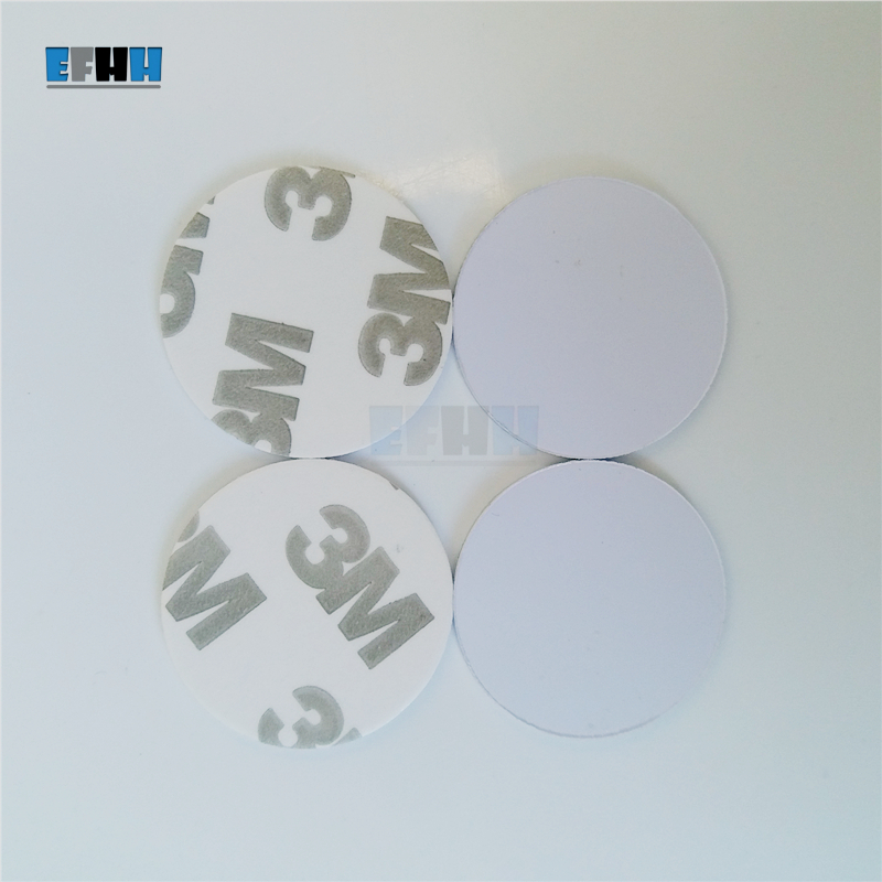 100pcs//lot 25mm 125Khz Rfid Tag ID Coin Card Blank With 3M Glue TK4100 Chip