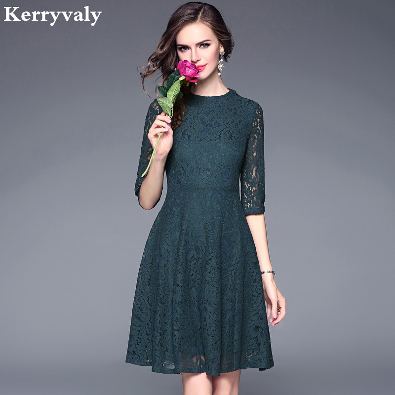 Women Oversize Lace Dress Vintage Women Round Neck Knee-length Dress Women Floral Backless Dress Vetement Femme 2019 Dresses
