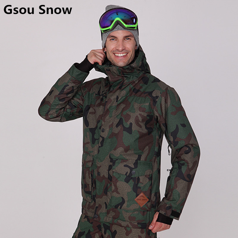 Gsou Snow Winter Insulated Ski Jacket Men Snowboard Jacket Army Green Camouflage Ski Suits for Men Veste Ski Homme ski jas heren батарея для ибп apc rbc18